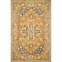 Hand-hooked Rust Traditional Medallion Wool Area Rug - 9'3 x 13'