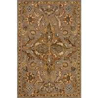 "Hand-hooked Grey/ Taupe Traditional Medallion Wool Area Rug - 9'3"" x 13'"