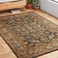 Hand-hooked Taupe/ Grey Traditional Floral Wool Area Rug - 9'3 x 13'