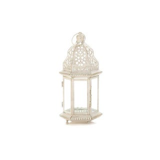 Home Locomotion White Iron/Glass Decorative Indoor Small Distressed Candle Lantern
