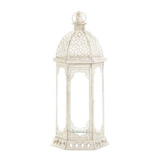 Home Locomotion Decorative Graceful Distressed White Iron, Glass Large Lantern