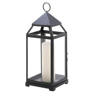 Home Locomotion Black Glass and Iron Indoor Contemporary Candle Lantern