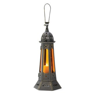 Home Locomotion Gothic Tower Black Iron and Glass Candle Lantern