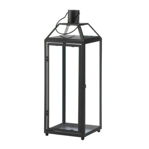 Home Locomotion Midtown Black Iron and Glass Large Candle Lantern