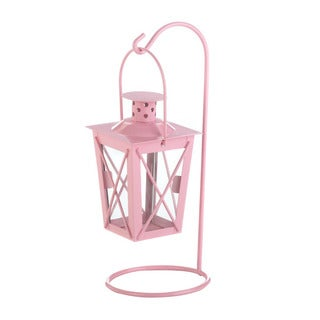Home Locomotion Pink Iron and Glass Decorative Railroad Hanging Lantern
