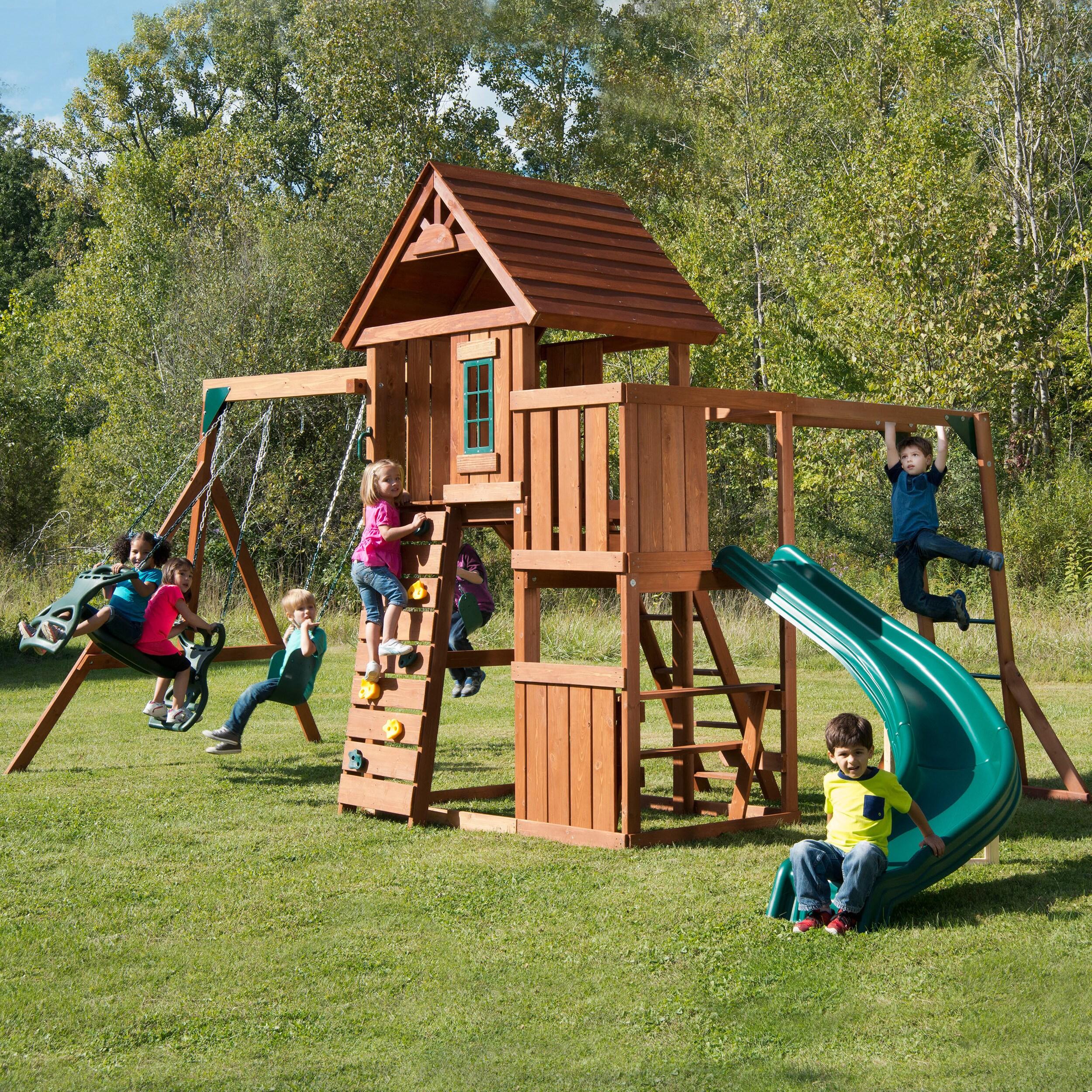 Swing-N-Slide Cedarbrook Play Set (Wooden Play Set), Brown