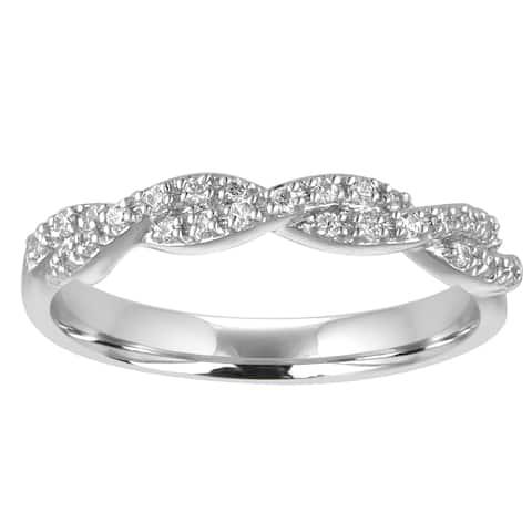 Sterling Silver 1/5ct TDW Diamond Twist Wedding Band (I-J, I2)