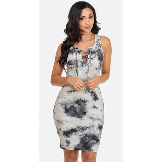 Juniors' Sleeveless Lace-Up Tie-Dye Bodycon Dress