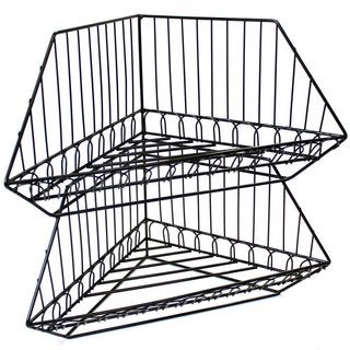 Ikee Design Black Metal Wire Stackable Corner Rack Set (2-piece Set)