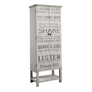 Hand Painted Distressed Aged Grey Wine Cabinet