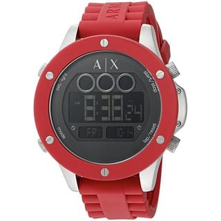 Armani Exchange Men's AX1563 'Street' Digital Red Stainless Steel Watch