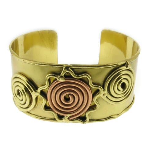 Handmade Artisan Two-tone Mixed Metal Copper and Brass Cuff Bracelet (India)