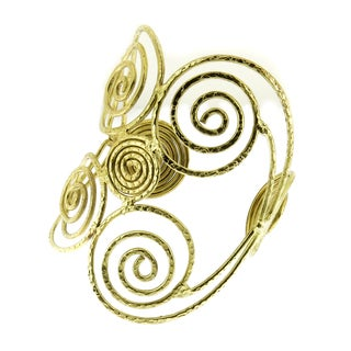 Handmade Artisan Wide Textured Brass Open Swirls Arm Cuff Bracelet (India)