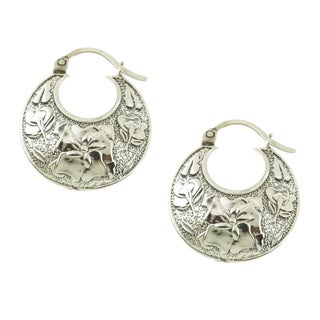 Handcrafted Sterling Silver Floral Hoop Earrings (Mexico)