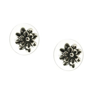 Handcrafted Sterling Silver Floral Post Stud Earrings (Mexico)