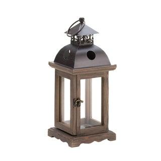 Home Locomotion Rustic Wood Hinged Door Candle Lantern