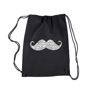 Los Angeles Pop Art 'Ways to Style a Moustache' Drawstring Backpack
