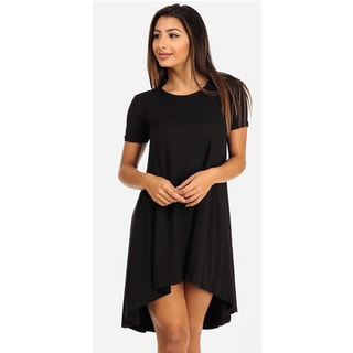 Juniors' Black Short Sleeve High-Low Dress