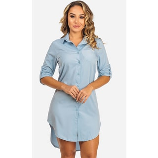 Women's Long Sleeved Blue Shirt Dress