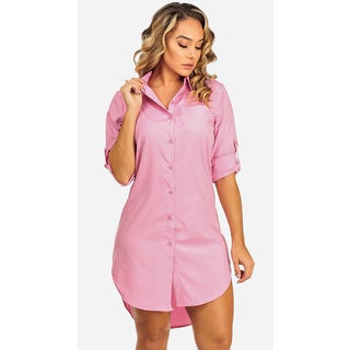 Women's Long Sleeved Pink Shirt Dress