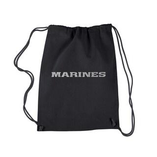 LA Pop Art Black 'Lyrics to the Marines Hymn' Drawstring Backpack