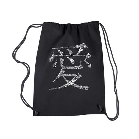 LA Pop Art 'The Word Love in 44 Languages' Black Cotton Drawstring Backpack