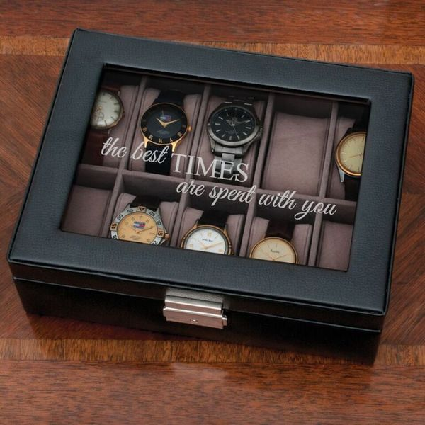 'The Best Times Are Spent With You' Black Leather 10 Watch Case. Opens flyout.