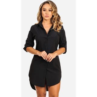 Women's Long Sleeved Black Shirt Dress