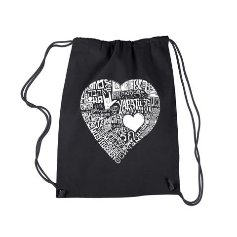 Los Angeles Pop Art Love in 44 Different Languages Drawstring Backpack