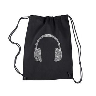 LA Pop Art 63 Different Genres of Music Black Cotton Drawstring Backpack
