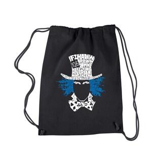 LA Pop Art 'The Mad Hatter' Black Cotton Drawstring Backpack