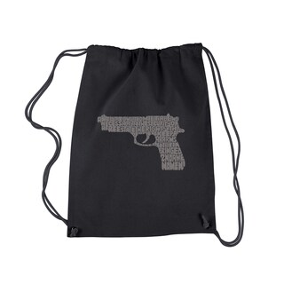 LA Pop Art 'Right To Bear Arms' Black Cotton Drawstring Backpack