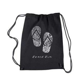 LA Pop Art 'Beach Bum' Black Cotton Drawstring Backpack