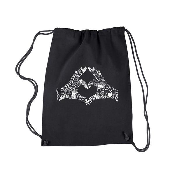 Shop LA Pop Art Finger Heart Black Cotton Drawstring Backpack - Free  Shipping On Orders Over  45 - Overstock.com - 13476116 db7516b854344