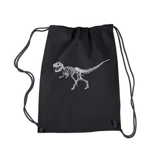 LA Pop Art Dinosaur T-Rex Skeleton Cotton Drawstring Backpack