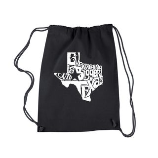 LA Pop Art 'Everything Is Bigger in Texas' Black Cotton Drawstring Backpack