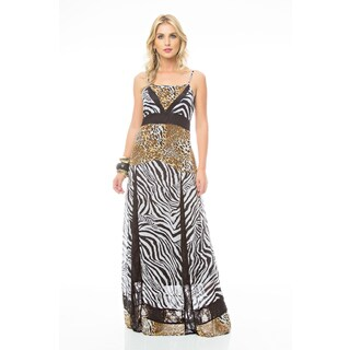 Sara Boo Zebra Print Fit and Flare Maxi Dress