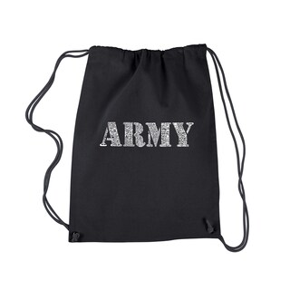 LA Pop Art 'Lyrics to the Army Song' Black Cotton Drawstring Backpack