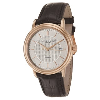 Raymond Weil Maestro Automatic Date Rose Gold PVD Coated Leather Strap Men's Watch