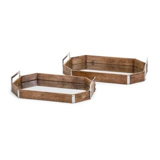 Trisha Yearwood New Frontier Wood and Mirror Decorative Trays - Set of 2