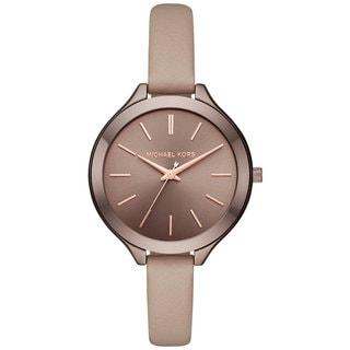 Michael Kors Women's MK2631 Slim Runway Sable Dial Latte Leather Watch