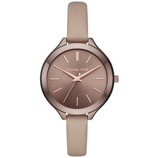 Michael Kors Women's MK2631 Slim Runway Sable Dial Latte Leather Watch