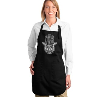 LA Pop Art 'Hamsa' Word Cloud Graphic Full-length Apron (4 options available)