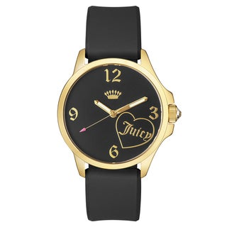 Juicy Couture Fergie Stainless Steel Ion Plated Women's Black Silicon Strap Watch