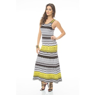Sara Boo Yellow Print Fit and Flare Maxi Tricot Dress