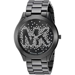 Michael Kors Women's MK3589 Slim Runway Crystal-Set Black Dial Black Stainless Steel Bracelet Watch