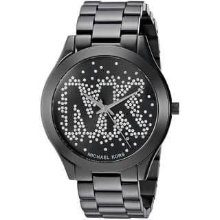 Michael Kors Women's MK3589 Slim Runway Black Crystal Logo Watch|https://ak1.ostkcdn.com/images/products/13476266/P20162678.jpg?impolicy=medium