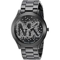 31e45e9385bc Michael Kors Women s MK3589 Slim Runway Crystal-Set Black Dial Black  Stainless Steel Bracelet Watch
