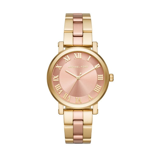 Michael Kors Women's MK3586 Norie Rose Gold Dial Two-Tone Stainless Steel Bracelet Watch
