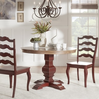 Eleanor Two-tone Round Solid Wood Top Dining Table by TRIBECCA HOME